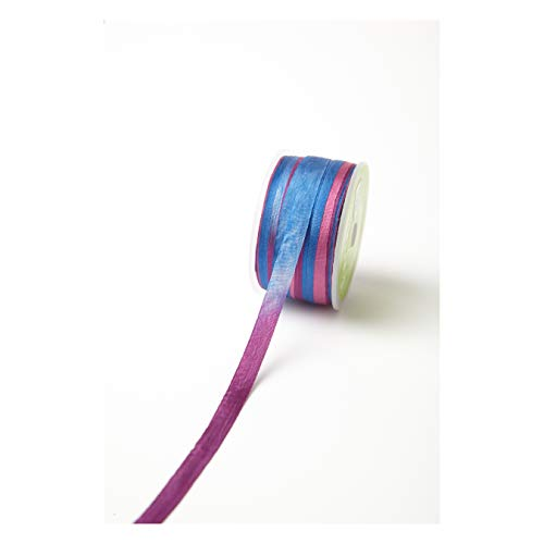 May Arts 1/4'' Variegated color Silk Ribbon Blue/Purple (roll54 yard) Multi