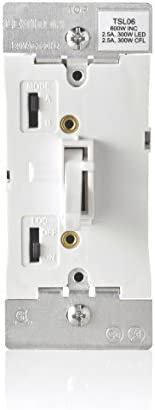 Leviton TSL06-1LW Toggle Slide Universal Dimmer, 300-Watt Dimmable LED and CFL, 600-Watt Incandescent and Halogen for Single Pole or 3-Way, with Locator Light, 1-Pack, White