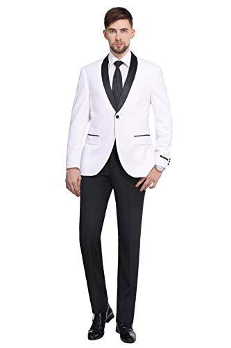 Jacket Black Blazer Silk (P&L Men's Suit 2-Piece Premium Slim Fit Prom Party Wedding Tuxedo Blazer Jacket & Flat Front Pants White)