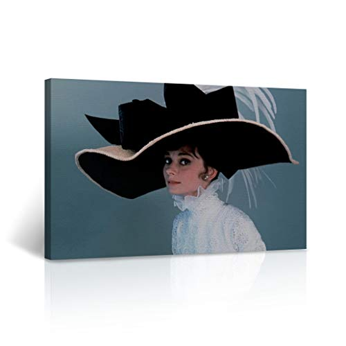 Buy4Wall Audrey Hepburn Canvas Wall Art My Fair Lady Movie Vintage Home Decor Framed Canvas Decorative Artwork - Ready to Hang -%100 Handmade in the USA - 24x36 ()