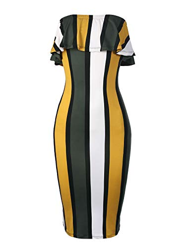 Jumper Spandex (BEYONDFAB Women's Sexy Soft Stretchable Off Shoulder Striped Tube Top Dress Mustard 2XL)