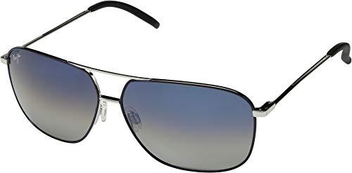 (Maui Jim Kami DGS778-06A | Polarized Navy Aviator Frame Sunglasses, Dual Mirror (Blue to Silver Over Neutral Grey) Lenses, with Patented PolarizedPlus2 Lens Technology)