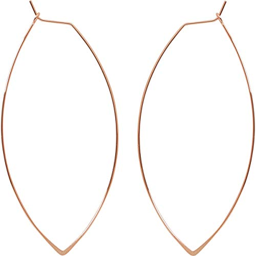 Marquise Threader Big Hoop Earrings - Lightweight Oval Leaf Statement Drop Dangles, 18K Rose - 3 inch, Pink Gold-Electroplated, Hypoallergenic, by Humble Chic NY