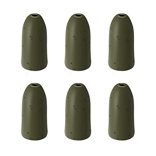 Nawaish 6 Pack Tungsten Bullet Worm Weight for Bass Fishing Pitching and Flipping Sinker -1/2 Ounce Green