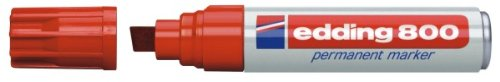 Edding 800 red ink large permanent chisel tip marker, with a line width of 4 to 12mm, EACH (Chisel Tip Red Ink)