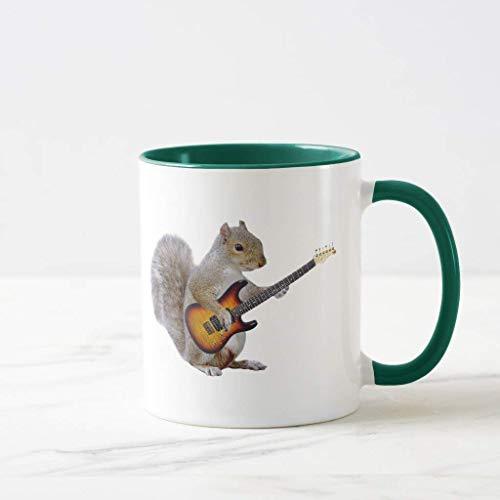 FiuFgyt Squirrel Playing Guitar Hunter Green Novelty Coffee Mugs for Men Ceramic Mug Funny for Women 11oz