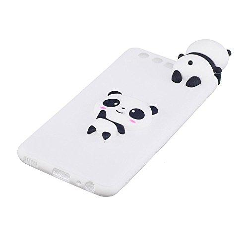 Huawei P10 (5.1) Funda, BENKER Alta Calidad 3D [No Se Desvanece] TPU Silicona Anti-choque Dibujos Animados Protección Cubrir Suave Flexible Funda Carcasa - Helado Panda Blanco