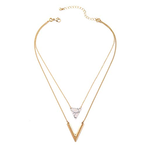 - Multi-Layer Chain Necklaces with Pendants Geometric Shapes Double Layer Necklace Triple Layer Necklace Choker for Women and Girls (White Triangle & Gold)