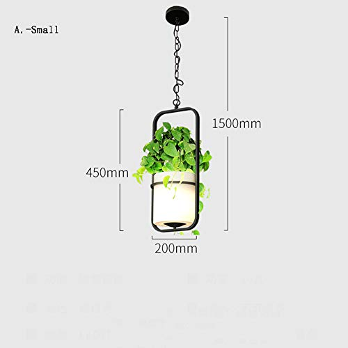 (DECORATZ LED Green Plant Decorative Chandelier Ceiling Lamp, PE Environmental Protection Material Lampshade Flower Pot Shape Lighting Fixture for Restaurant Bedroom Living Room-AS)