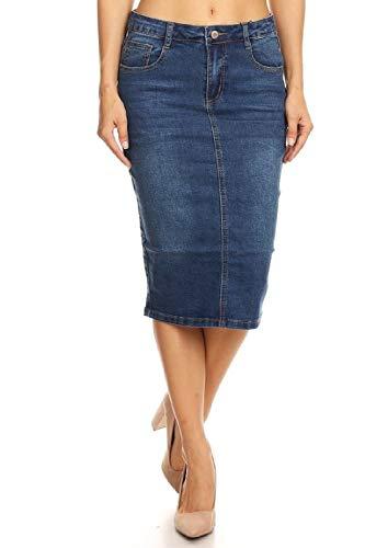 Women's Juniors Mid Waist Below Knee Length Denim Skirt in a Pencil Silhouette in M. Blue Size ()