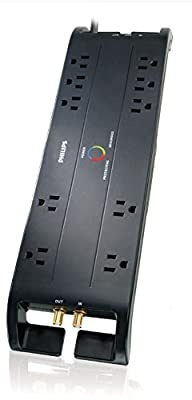 Philips SPP5105C/17 Home Theater Surge Protector with 10 Outlets, 2500J, 6-Foot Cord