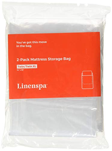 Linenspa LS02TXMB Heavy Duty Mattress Storage Bags, Twin XL, White (Twin Plastic Mattress Cover)