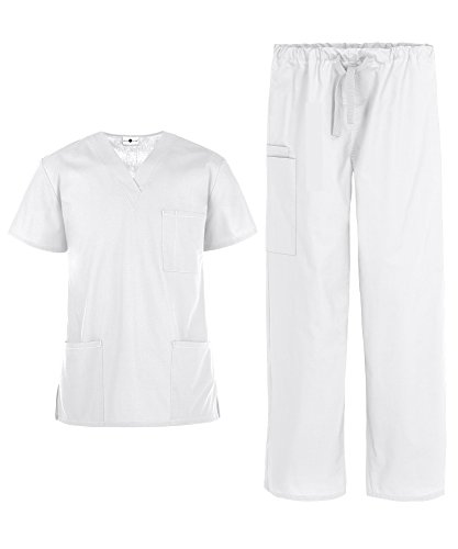Men's Medical Uniform Scrub Set – Includes 3 Pocket V-Neck Top and Drawstring Pant (XS-3X, 14 Colors) (Small, White) ()