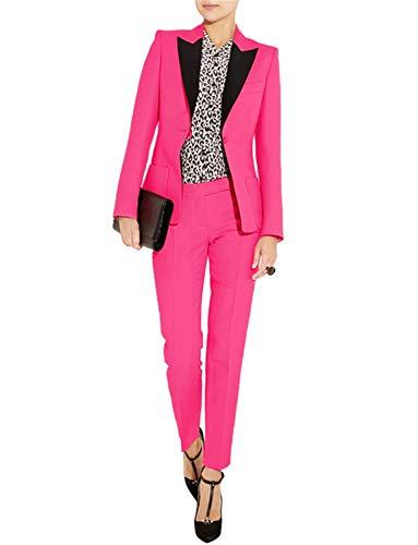 (Women's Suits Slim 2 Pieces Blazer One Button Tuxedo Pants & Jacket Set Prom Blush Pink)