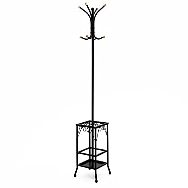 SONGMICS Standing Coat Rack with Umbrella Holder 8 Hooks Metal with Black Finish URCR25B