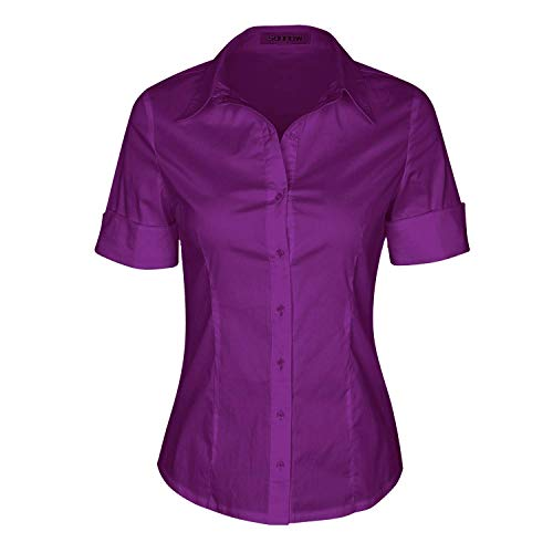 SUNNOW Womens Tailored Short Sleeve Basic Simple Button-Down Shirt with Stretch (2XL, Purple-B)