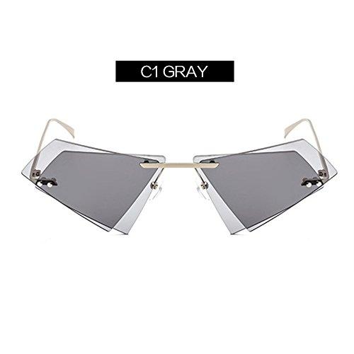 Espejo Gafas De De C2 Transparente Gafas Personalidad C1 Lente Gafas KLXEB Cerco Sin Doble Irregular Hombres Claro Mujer Sol 85gwZqF