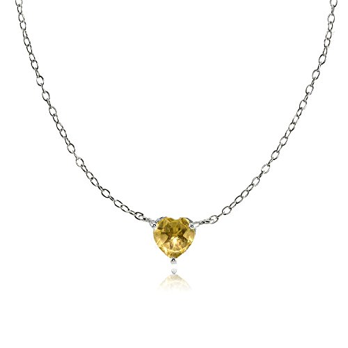 (Ice Gems Sterling Silver Small Dainty Citrine Heart Choker Necklace)