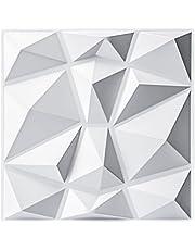 """Art3d Decorative 3D Wall Panels in Diamond Design, 12""""x12"""" Matt White (33 Pack)"""