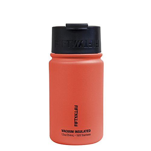 Fifty/Fifty 12oz, Double Wall Vacuum Insulated Café Water Bottle, Stainless Steel, Flip Cap w/ Wide Mouth, Coral, 12oz/354ml
