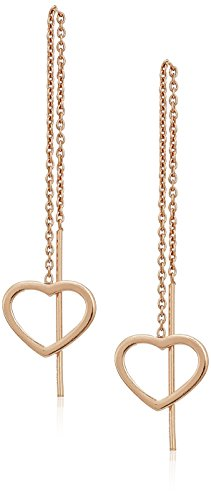 Threader Collection (Rose Gold Over Sterling Silver Open Heart Threader Drop Earrings)