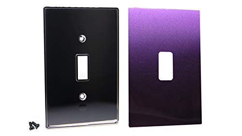 Purple Solid Faceplate Cover - Urban Chameleon-New Idea-2 Piece Type Light Switch Plate, Decorative 1-Gang Toggle Cover Chrome Plate with Removable, Reusable Easy Color Change Skin and Hidden Screws (Deep Purple Pearl)