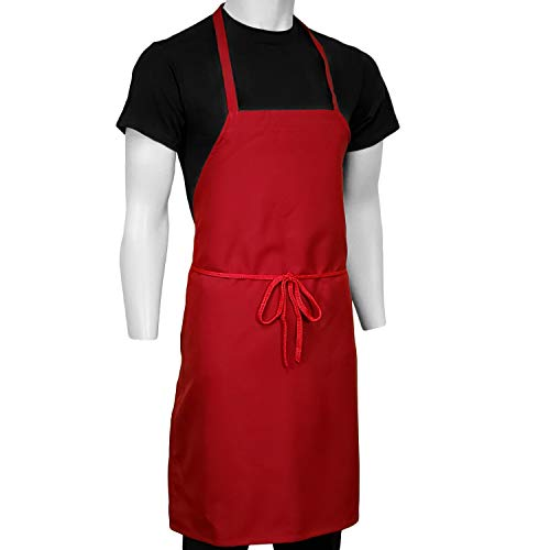 ChefsCloset Pack of 12 Bib Aprons, No Pocket, 100% Easy Wash Polyester (Red) ()