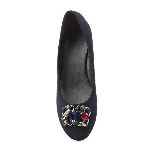 La Modeuse-Bailarinas de ante con joyas piel sintética, diseño de brillantes y coloridas en adelante del calzado Azul - azul