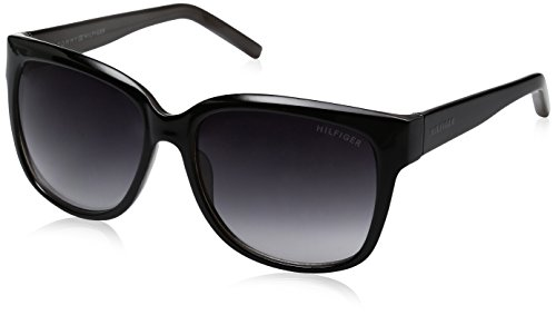 Tommy Hilfiger Women's Lad181 66396777 Square Sunglasses, Black/Smoke Gradient, 58 - Women Hilfiger Glasses Tommy