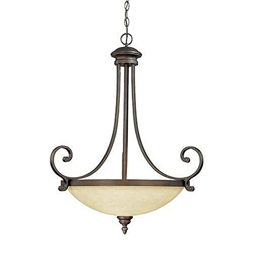 (Millennium Lighting 1213-RBZ Oxford - Three Light Pendant, Rubbed Bronze Finish with Turinian Scavo Glass)