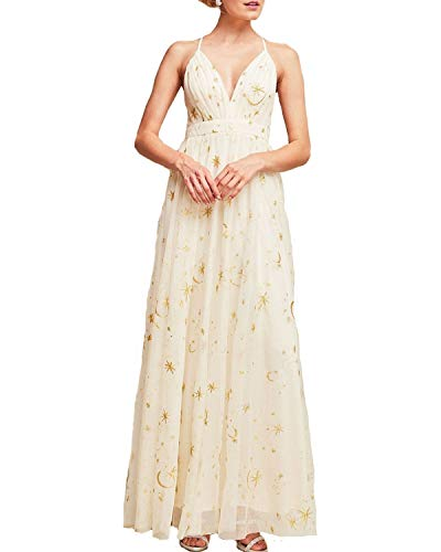 - Sidecca Women's Celestial Star & Moon Embroidered Mesh Empire Waist Maxi Dress Cream S