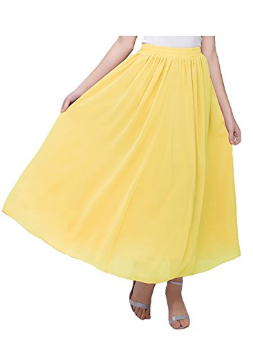 Kileyi Women's Long A Line High Elastic Waist Swing Chiffon Pleated Midi Skirt Yellow XXL -