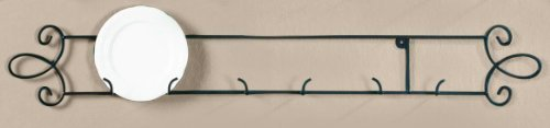 Augusta Black Horizontal Plate 35.75''W Wall 3-Place Rack
