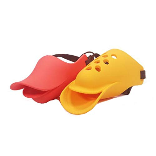 Jiansheng Dog Mouth Cover, Soft Silicone Mouth Cover, Large and Medium Dog Anti-bite Anti-Call Dog Mask, Duck Mouth Shape Pet Muzzle, Red, Yellow, Blue XL (Color : Red, Size : XL)