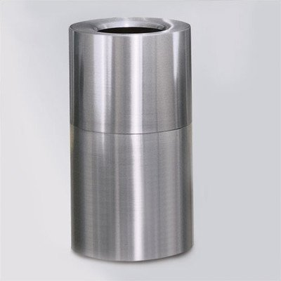 35-Gal Aluminum Designer Small Waste Receptacle [Set of 2] Color: Satin Aluminum, Liner: None