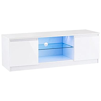 white console cabinet. 47\u0026quot; White High Gloss TV Stand Unit Entertainment Media Console Cabinet Multi-Color LED L