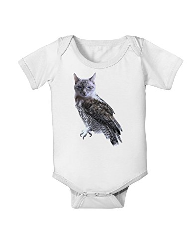TooLoud Lucky Cat Owl Baby Romper Bodysuit - White - 6 Months