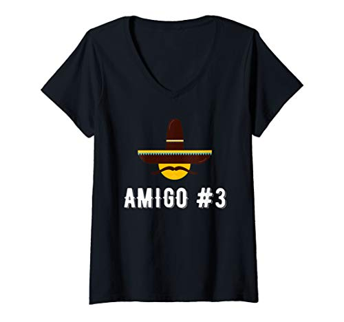 Womens Amigo #3 Funny Group Costume Idea For Friends V-Neck T-Shirt -