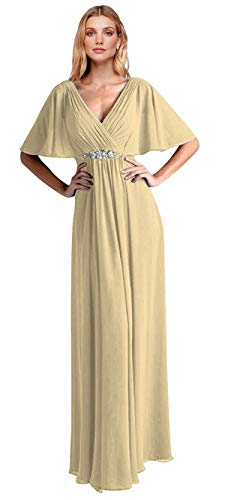 VaniaDress Women V Neck Half Sleeveles Long Evening Dress Formal Gowns V265LF Champagne US22W from VaniaDress