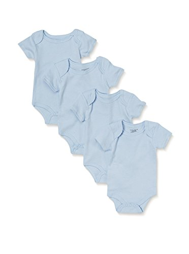 Sweet & Soft Blue Baby Basics 4 PK Bodysuits Short Sleeve 100% Combed Cotton (6/9 Months) Blue Onesies