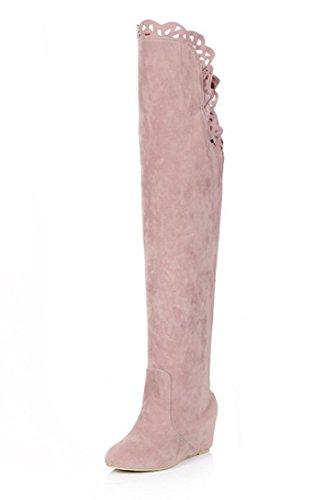 femme bottes - SODIAL(R)femme mode dentelle elastique bottes rose 36