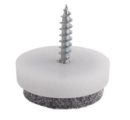 Patin diam FPV224 24 mm base plastique et feutre gris /à visser pour protection des sols fragiles Lot de 16 pi/èces Ajile/®