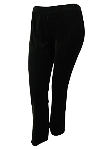 Style & Co. Womens Plus Velour Flat Front Lounge Pants Black ()
