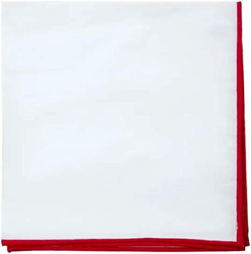 D&L Menswear White Cotton Pocket Square with Red Embroidered Edge, Large