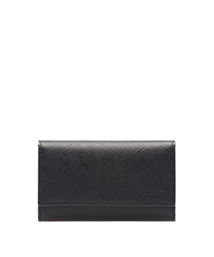 Prada Prada Black Saffiano Saffiano Nero Holder Leather Key Wallet wx5Txdq0F