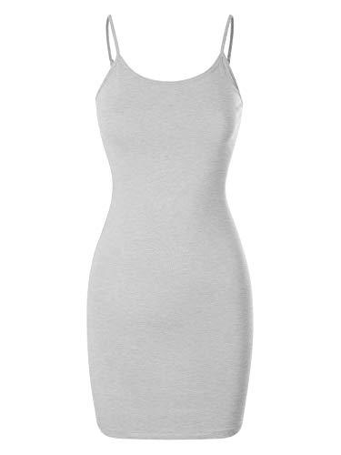 (Design by Olivia Women's Casual Sleeveless Spaghetti Strap Stretch Cami Slip Bodycon Short Mini Dress Heather Grey M)