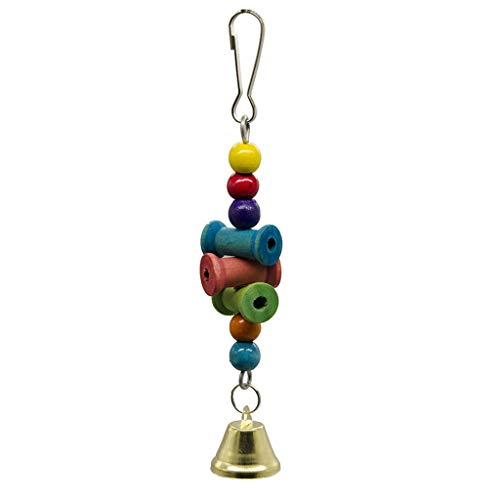 Kimanli Bird Toys Hanging Wooden Shaft Molar String Bell Foraging Star Bird Parrots Toy Dog Rope Toys, Aggressive Chew Toys, for Small to Medium Dogs - Pets Puppy Rope Training Toys (A, Multicolor) -