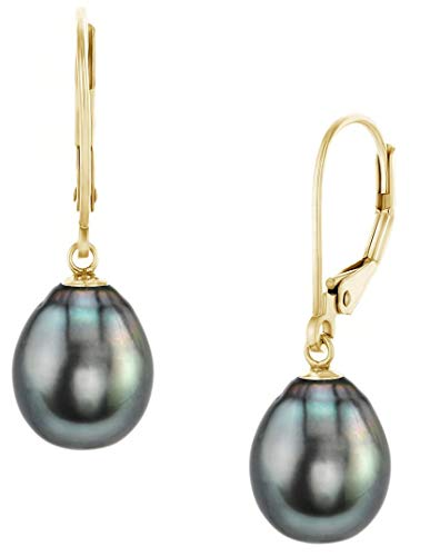 (THE PEARL SOURCE 14K Gold AAAA Quality Drop Black Tahitian South Sea Cultured Pearl Leverback Earrings for Women (yellow gold, 11-12.0mm))