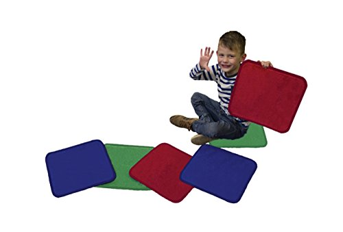 Learning Carpets Carpet Squares Set of 6 (Red, Blue, Green), Colorful
