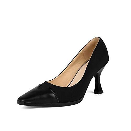 ZHZNVX Zapatos de Mujer Nappa Leather Fall Comfort Tacones Stiletto Heel Black/Pink / Wine Black